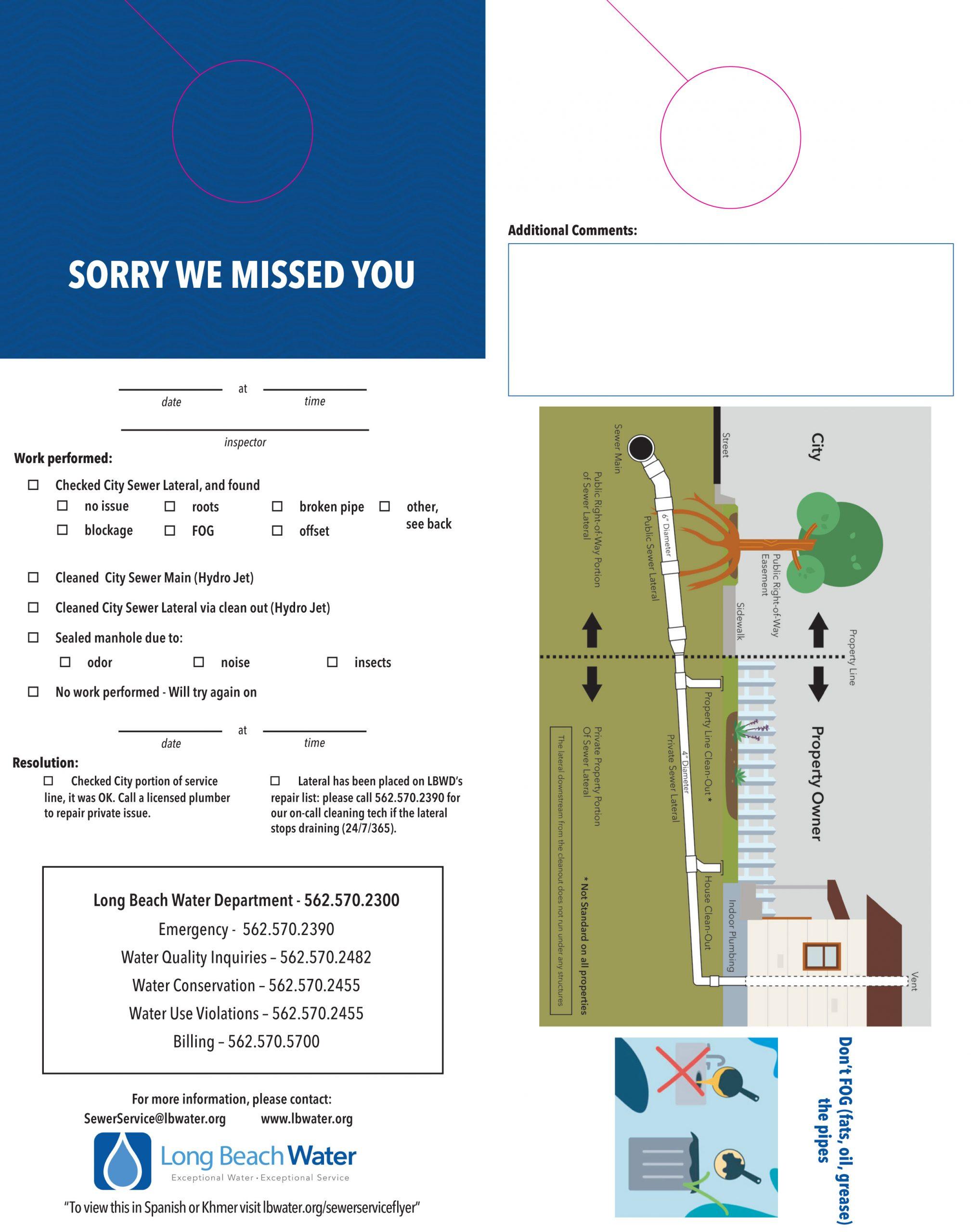 LBWD Sewer Service Flyer English